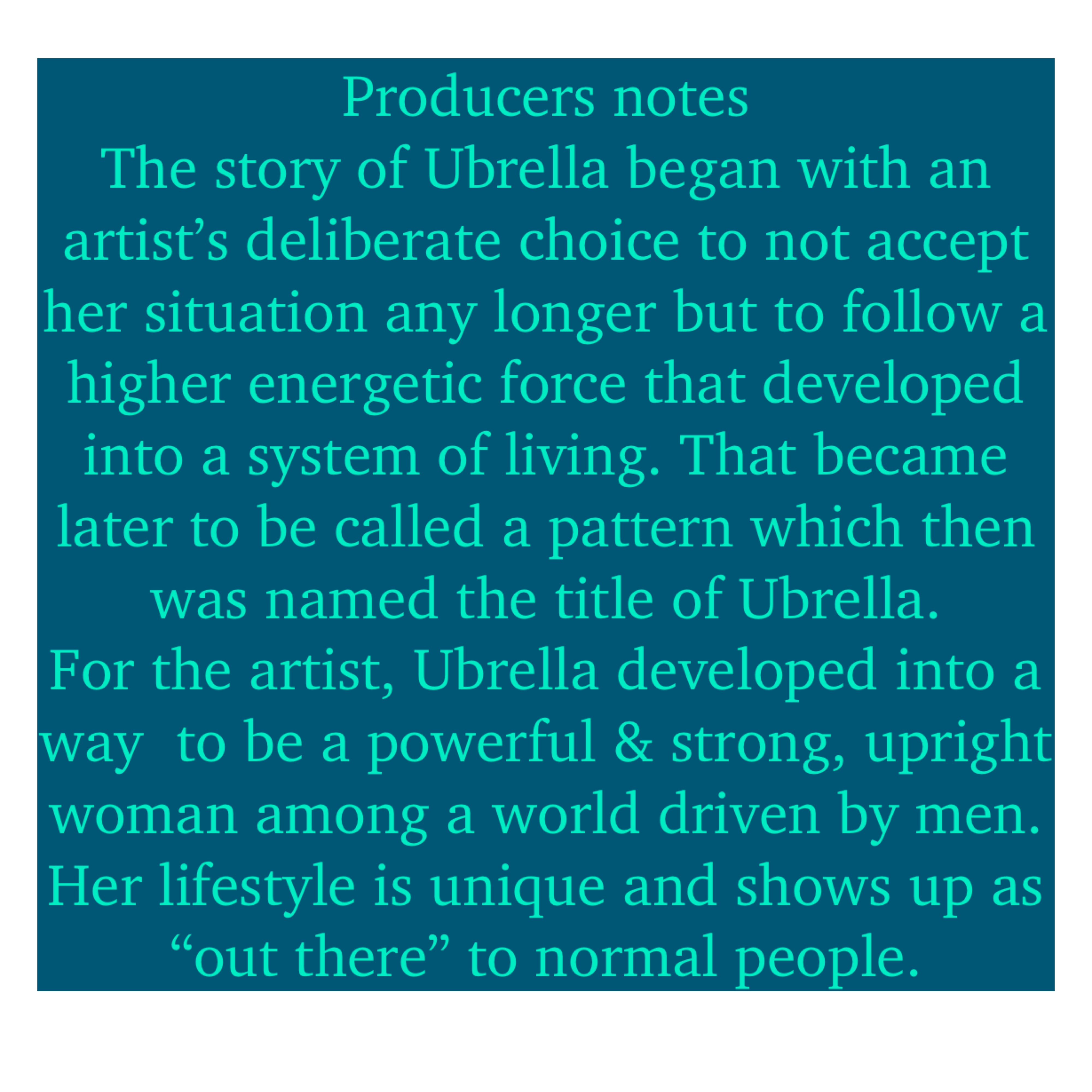 Producer's Notes